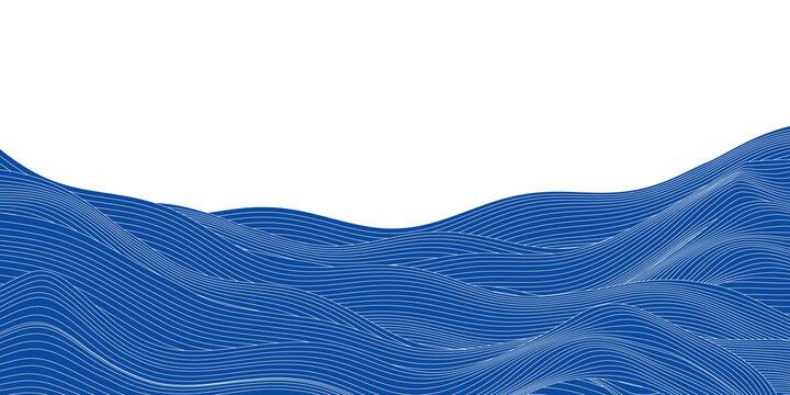 海 波 和柄 暑中見舞い