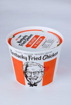 A lots of KFC in bucket of KFC (Kentucky Fried Chicken) fast food
