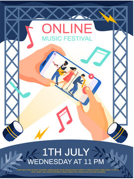 Online music festival concept poster. Band performs in concert. Person watching video of musical group with instruments singing and playing on smartphone screen. Musician are performing online