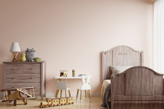 Children's room with a bed Decorated with dolls on wooden cabinets and toys on the floor.3d rendering.