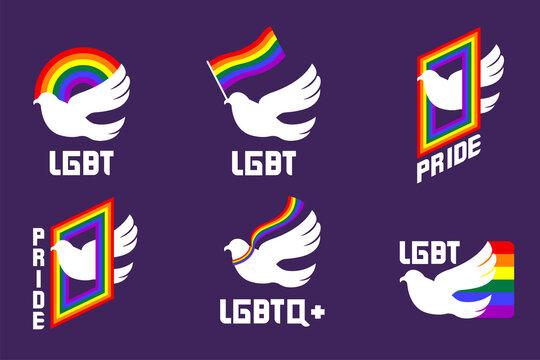 LGBT logo design. symbol freedom love.