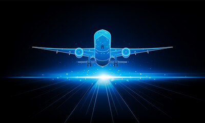 Fototapeta Abstract Light out plane is flying Travel by air transport background Hitech communication concept innovation background vector design.