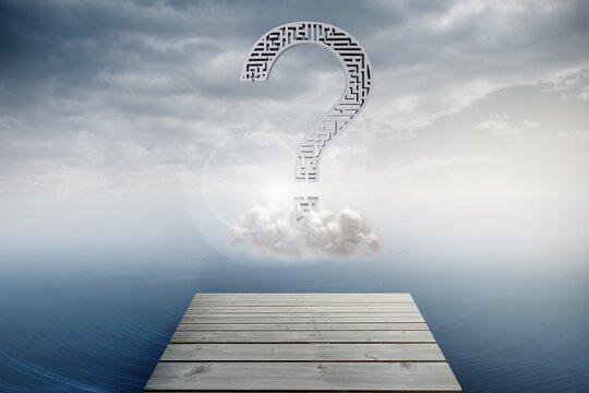 question mark graphic over sea