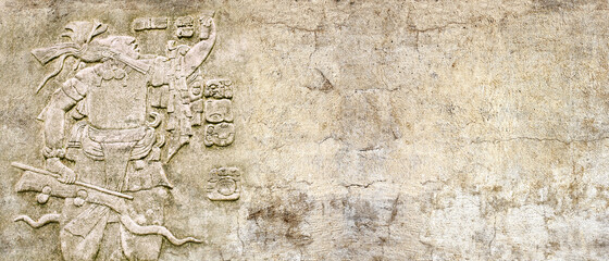 Grunge background with stone wall texture and bas-relief of a Mayan king Pakal - fototapety na wymiar