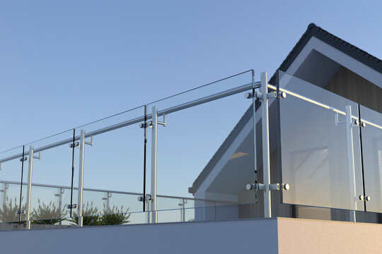 Modern stainless steel railing with glass panel and house, 3D illustration