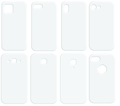 Set of blank white phone cases.Clean template cover smartphone.Mockup vector illustration.