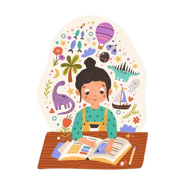 Sweet girl sitting at desk with scrapbook or reading fairy tale book. Kid with creative imagination. Happy child making notes in whimsical notebook. Colored flat vector illustration isolated on white