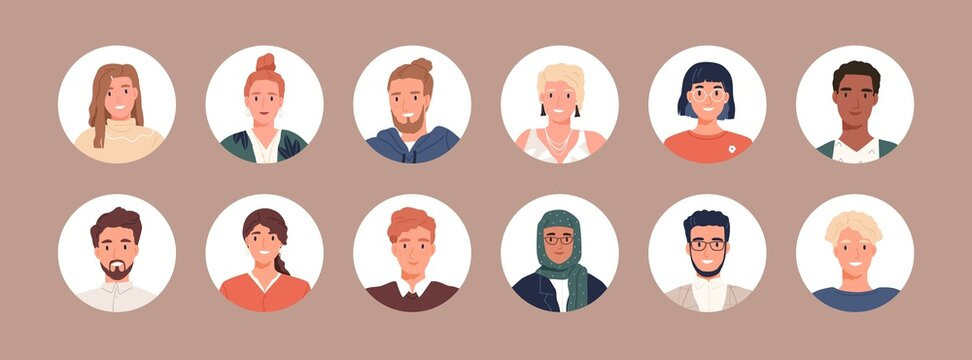 Circle avatars with young people's faces. Portraits of diverse men and women of different races. Set of user profiles. Round icons with happy smiling humans. Colored flat vector illustration