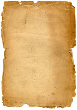 Old torn naturally aged paper background. Real page from the beginning of 1900 century, not an imitation