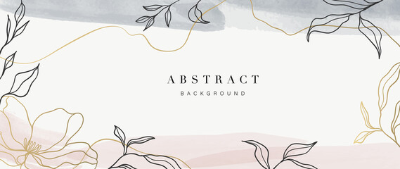 Fototapeta Abstract art background vector. Luxury minimal style wallpaper with golden line art flower and botanical leaves, Organic shapes, Watercolor. Vector background for banner, poster, Web and packaging. obraz