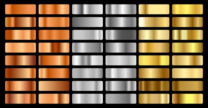 Gold, silver, bronze and golden foil texture gradation background set. Vector shiny hologram and metalic gradient collection for border, frame, ribbon, label design. Vector illustration