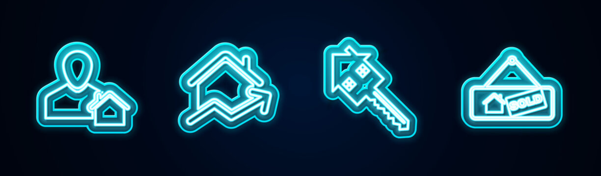 Set line Realtor, Rising cost of housing, House with key and Hanging sign Sold. Glowing neon icon. Vector