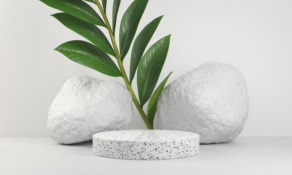 Minimal White Marble Platform For Presentation Product With Plant And Rock Stone Background 3d Render