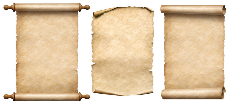 old paper vertical scrolls set isolated