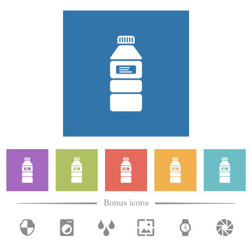 Water bottle with label flat white icons in square backgrounds