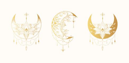 Obraz Celestial floral lotus moon illustration collection. Spiritual lunar tattoo with flowers. Mystical gold bohemian prints. - fototapety do salonu