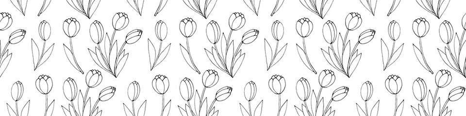 Obraz Vector seamless pattern with outline Bouquet of three flowers of tulips. Hand drawn doodle spring texture, background. For wrapping paper, coloring page, mother's or women's or Valentine's Day - fototapety do salonu
