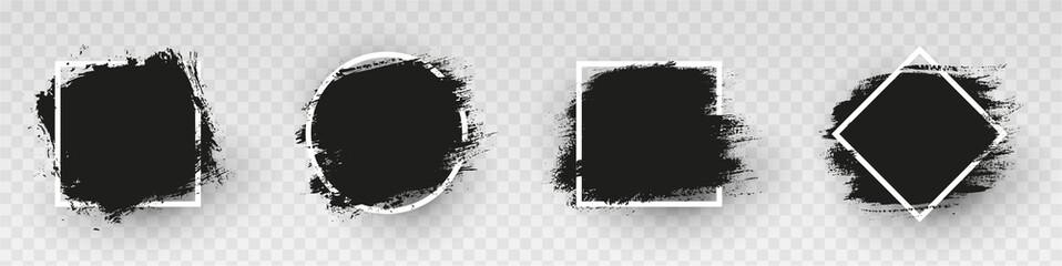 Fototapeta Black grunge backgrounds with white frame. Dirty artistic design elements, frames for text. Paint, ink brush strokes, brushes splashes - stock vector. obraz