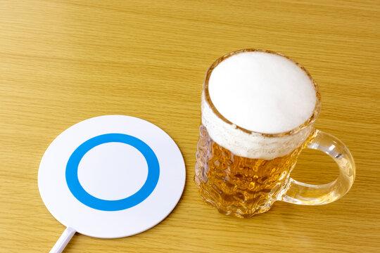 生ビールとtrueサインのイメージ