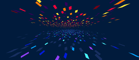 Fototapeta Abstract vector background, communication technology concept, dark 3d bits flying in perspective, futuristic abstraction.