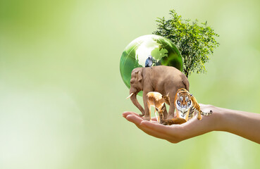 Obraz Earth Day or World Animal Day concept. Saving planet, protect wildlife nature reserve, protection of endangered species, biological diversity. Elephant, tiger, deer, parrot and tree with globe in hand - fototapety do salonu