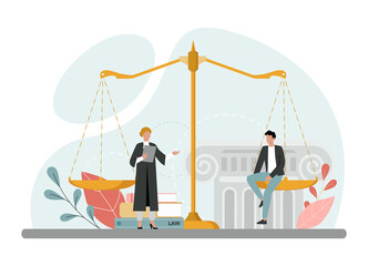 Fototapeta Judge concept. Court worker stand for justice and law. Judge in traditional obraz