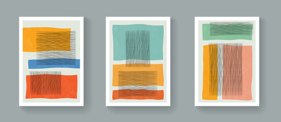 Obraz Set of abstract minimalist geometric posters. Mid-Century Modern Contemporary Art Vector Design. Bohemian style illustration with shapes. - fototapety do salonu
