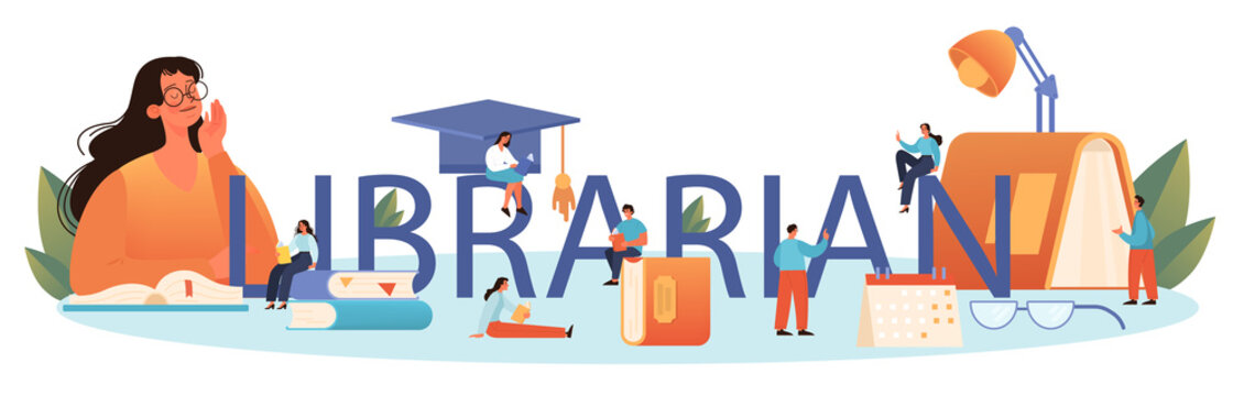 Librarian typographic header. Library staff cataloguing and sorting books.