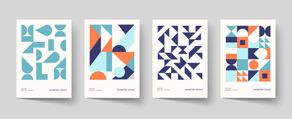 Obraz Trendy covers design. Minimal geometric shapes compositions. Applicable for brochures, posters, covers and banners. - fototapety do salonu