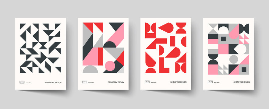 Trendy covers design. Minimal geometric shapes compositions. Applicable for brochures, posters, covers and banners.
