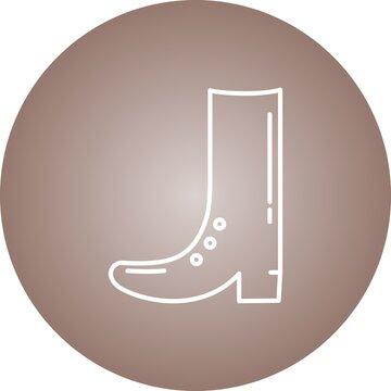 Unique Cowboy Boot Line Vector Icon