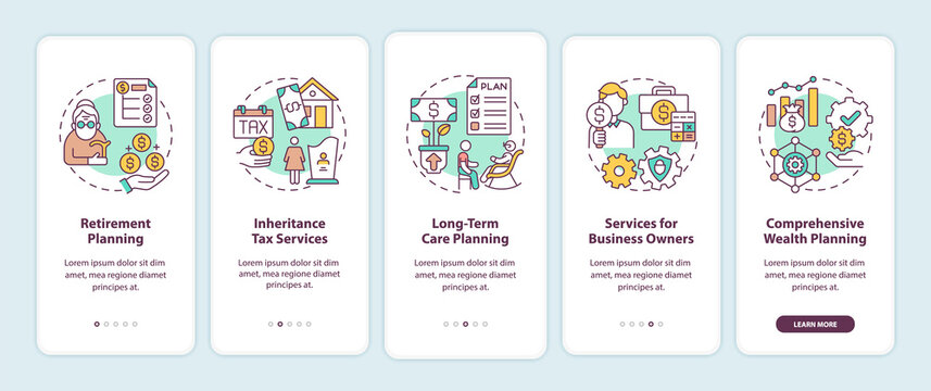 Wealth management services onboarding mobile app page screen with concepts. Retirement planning walkthrough 5 steps graphic instructions. UI, UX, GUI vector template with linear color illustrations