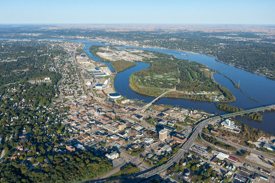 aerial view of Moline, Illinois on Mississippi River