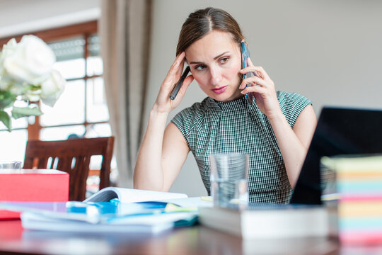 Businesswoman has to work from home during covid 19 lockdown