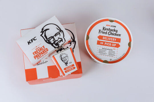 KFC Fried Chicken set at fast food restaurant Kentucky Fried Chicken KFC is a large restaurant chain