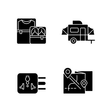 Traveler pack black glyph icons set on white space. Clothing cubes. Tourist baggage. Map for camper. Nomadic lifestyle. Summer vacation. Silhouette symbols. Vector isolated illustration