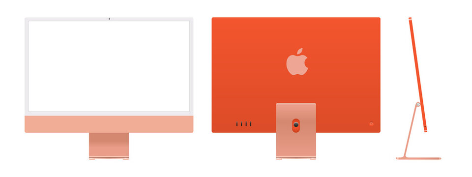 Realistic mockups of the new iMac 24 in orange on an isolated background. Apple iMac set. Front, back and side views. Vector EPS 10