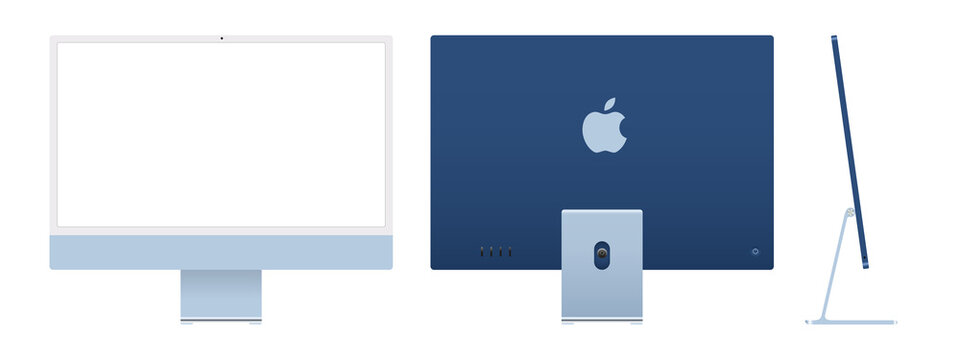 Realistic mockups of the new iMac 24 in blue on an isolated background. Apple iMac set. Front, back and side views. Vector EPS 10