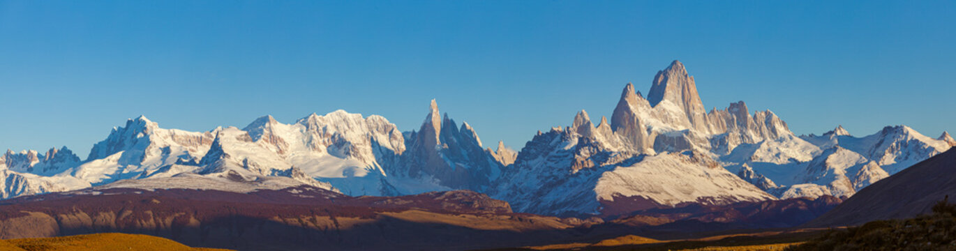 Panoramic view on the Fitzroy mountain range with the peaks of Cerro Fitzroy, Cerro Torre and Cerro Grande