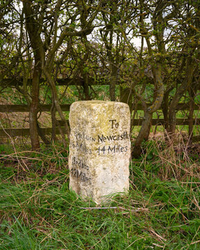 Ancient Milestone on A696 near Belsay, where there are several ancient marker posts on the rural A696 road in Northumberland