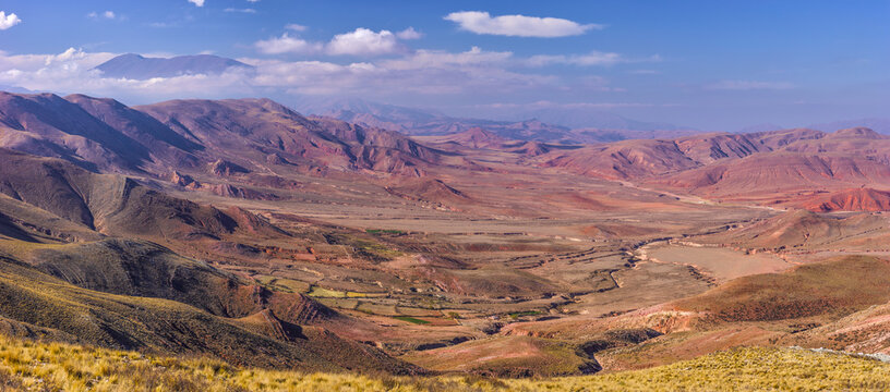 Panoramic view on a landscape with a valley in the mountains in the arid northwest of Argentina