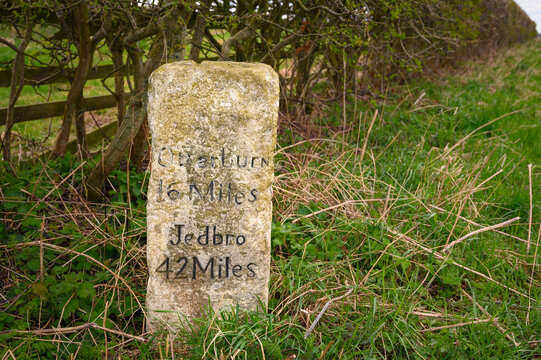 Medieval Milestone near Balsay on A696, where there are several ancient marker posts on the rural A696 road in Northumberland