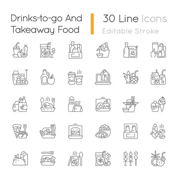 Drinks to go and takeaway food linear icons set. Fresh juice. Alcoholic beverage. Wine, beer, cocktail. Customizable thin line contour symbols. Isolated vector outline illustrations. Editable stroke