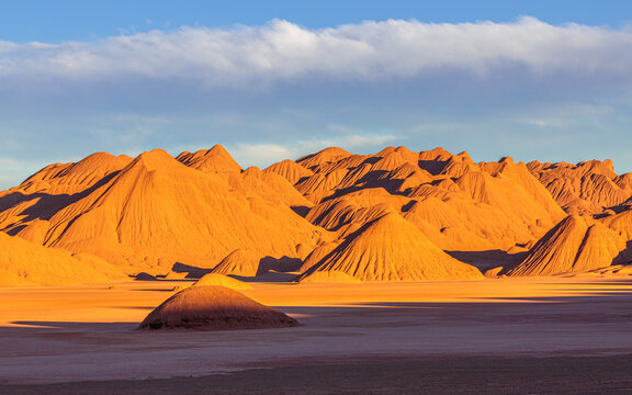 Sunset over the colorful mountains in the vicinity of Tolar Grande on the high altitude puna in northwest Argentina
