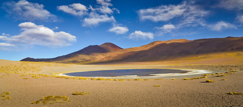 panoramic landscape with mountains and a small saltlake on the high altitude puna in northwest Argentina