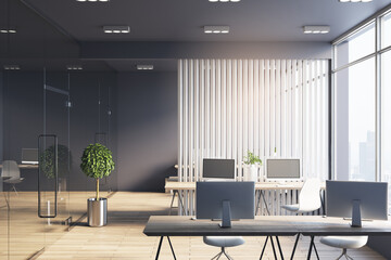 Fototapeta Monochrome style office hall with white wooden slatted partition between workspaces, dark ceiling and wall and big window with city view obraz