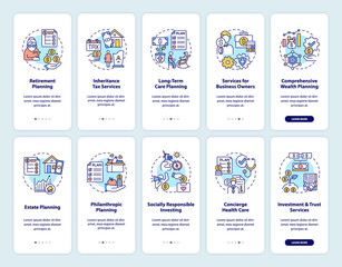 Fototapeta Wealth planning onboarding mobile app page screen with concepts set. Financial strategies walkthrough 5 steps graphic instructions. UI, UX, GUI vector template with linear color illustrations