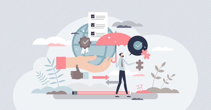 Business ethics with high principles attitude and moral value tiny person concept. Professional company attitude with integrity and social responsible work vector illustration. Reliable and safe deal.