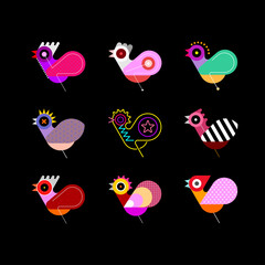 Multicolor designs isolated on a black background Bird Icon Set vector illustration. Nine different bird images. Can be used as a logo.