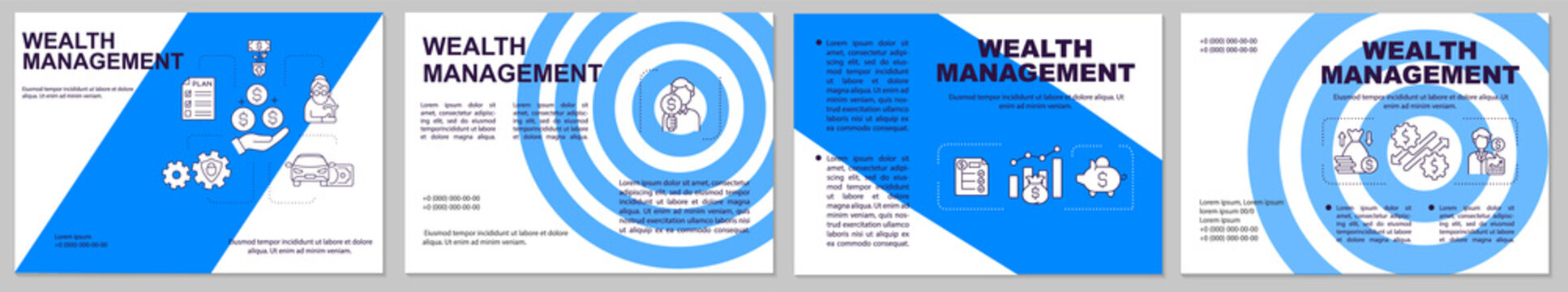 Wealth management brochure template. Controlling budget. Flyer, booklet, leaflet print, cover design with linear icons. Vector layouts for presentation, annual reports, advertisement pages